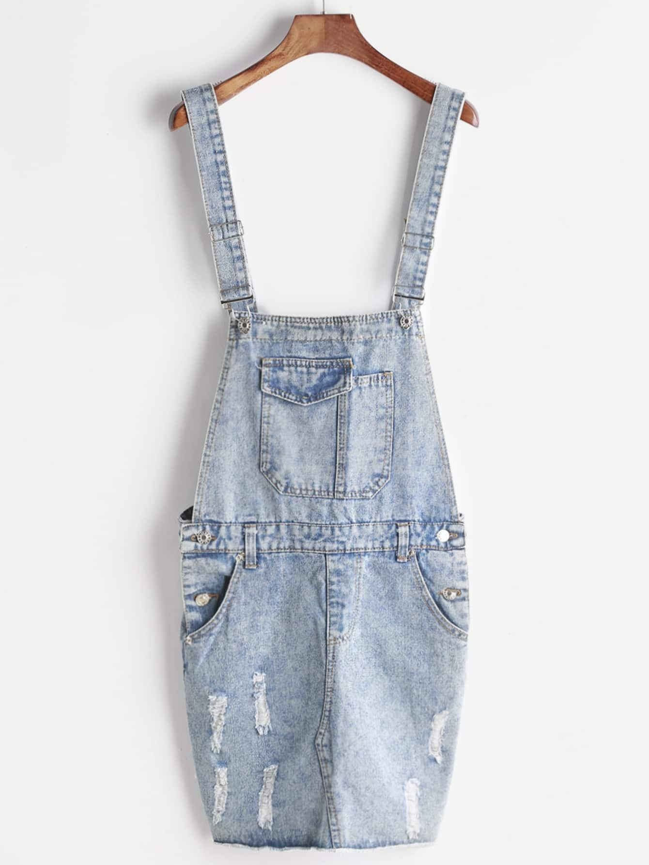 Blue Ripped Raw Hem Denim Overall Dress With Pockets