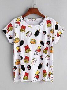 White Hamburger Print Cuffed T-shirt
