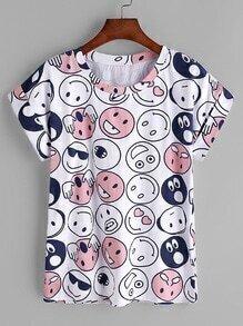Camiseta con estampado de cara sonriente