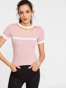 Camiseta de punto ribete en contraste con gargantilla - rosa