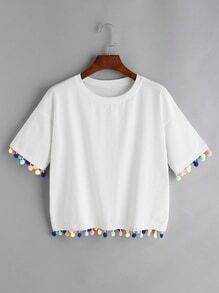 White Drop Shoulder Pom Pom T-shirt