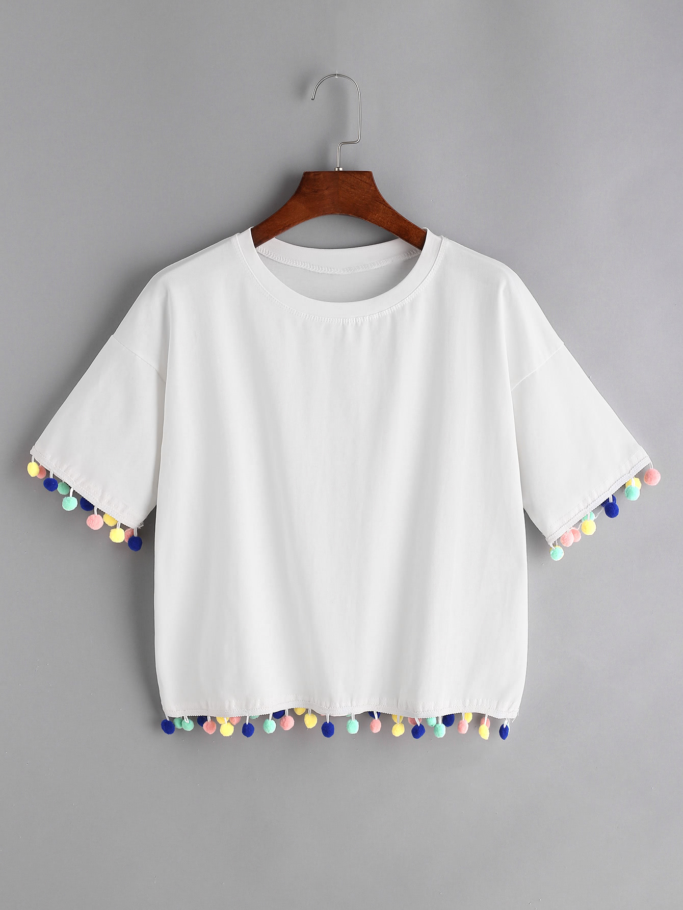 White Drop Shoulder Pom T-shirt