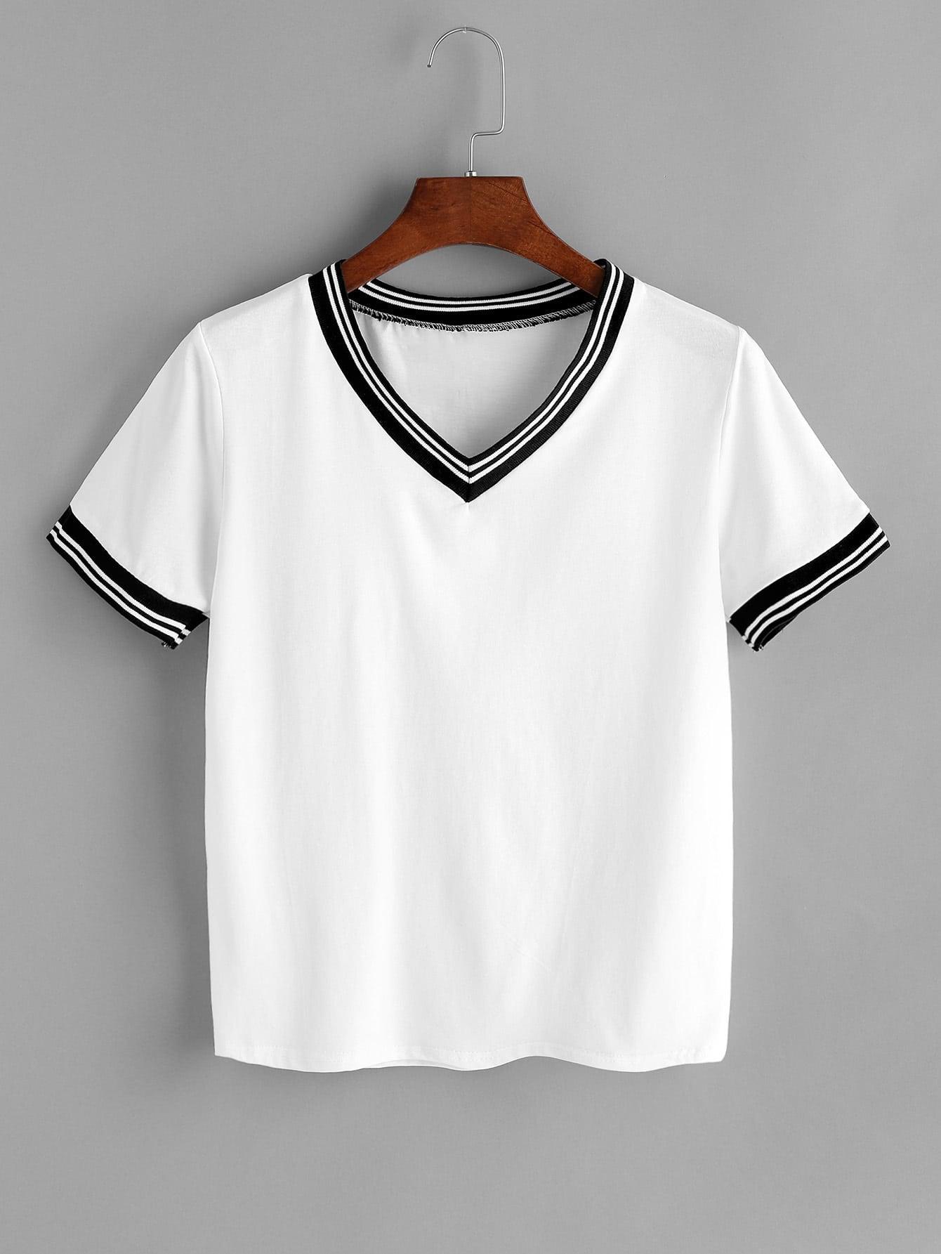 White Contrast Striped Trim V Neck T-shirt