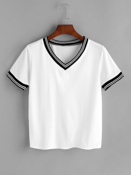 White Contrast Striped Trim V Neck T-shirt