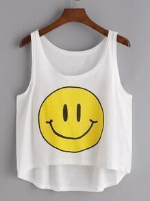 Top-print visage smiley asymétrique - blanc