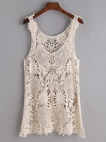 Apricot Lace Crochet Top