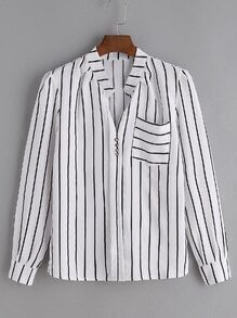 White Pinstripes Shirt With Pocket