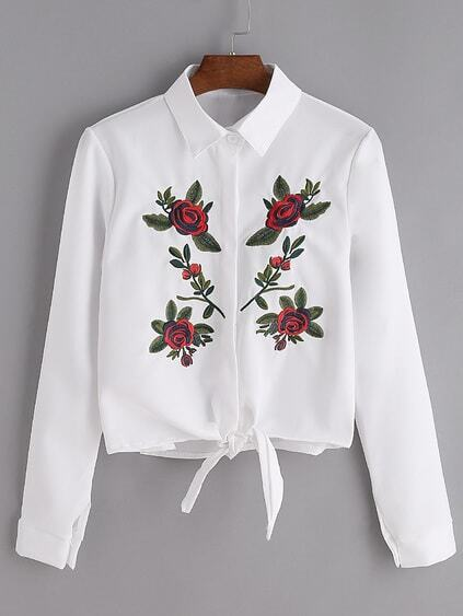White Flower Embroidered Tie Front Shirt