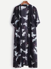 Black Crane Print Long Kimono