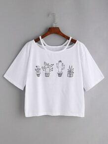 Camiseta con estampado de cactus cuello con abertura - blanco