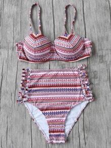 Set bikini con estampado étnico con aberturas cintura alta - multicolor