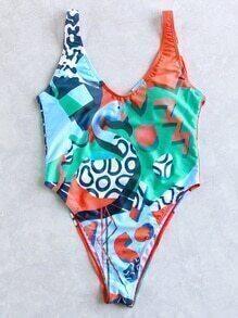 Bañador con estampado cuello en V una pieza - multicolor