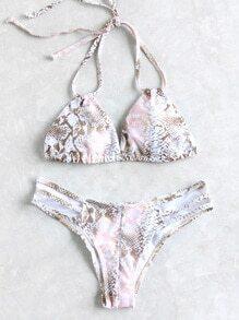 Set bikini en triángulo con estampado de serpiente y aberturas