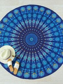 Manta playera redonda con estampado - azul