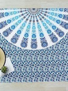 Blue Floral Print Beach Blanket