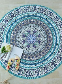 Turquoise Tribal Print Round  Beach Blanket