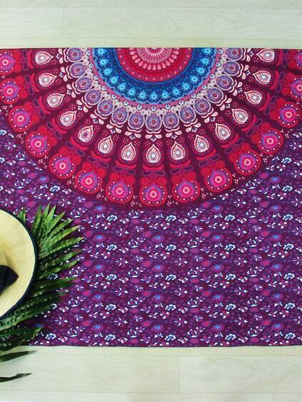 Manta playera con estampado étnico - multicolor
