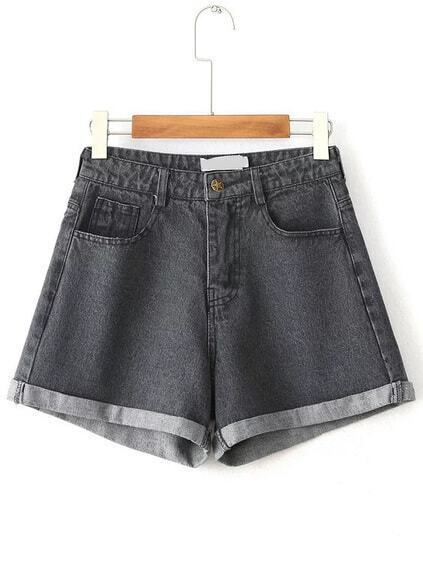 Schwarze hohe Taille Rolled Hem Denim Shorts
