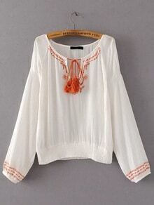 White Embroidery Tassel Tie Blouse