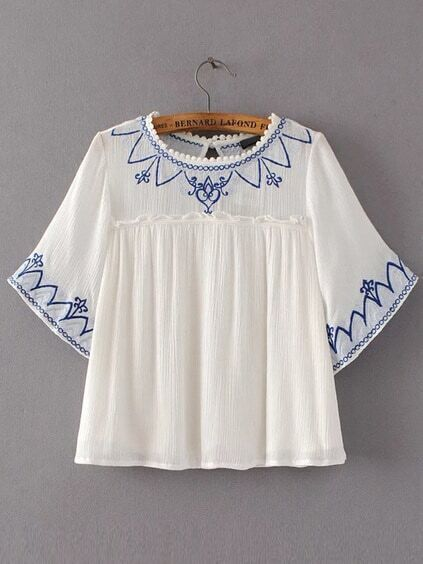 White Embroidery Ruffle Trim Blouse