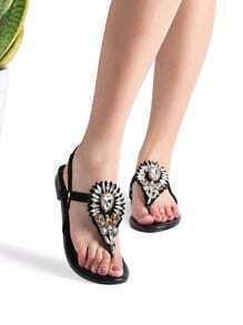 Black Rhinestone Detail Toe Post Sandals