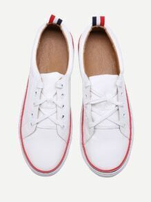 Blanc Contraste Trim Lace Up Sneakers