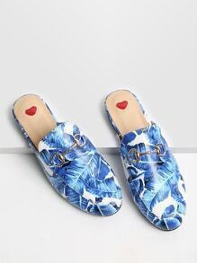 Blue Leaf Print Loafer Hausschuhe