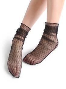 Calcetines de malla transparente con diseño de cuadros - negro