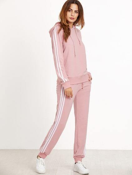 Pink Striped Sideseam Hooded Sweat Suit