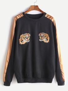 Black Contrast Trim Tiger Embroidered Patches Sweatshirt