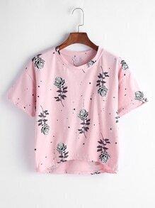 Camiseta asimétrica con estampado de rosas - rosa