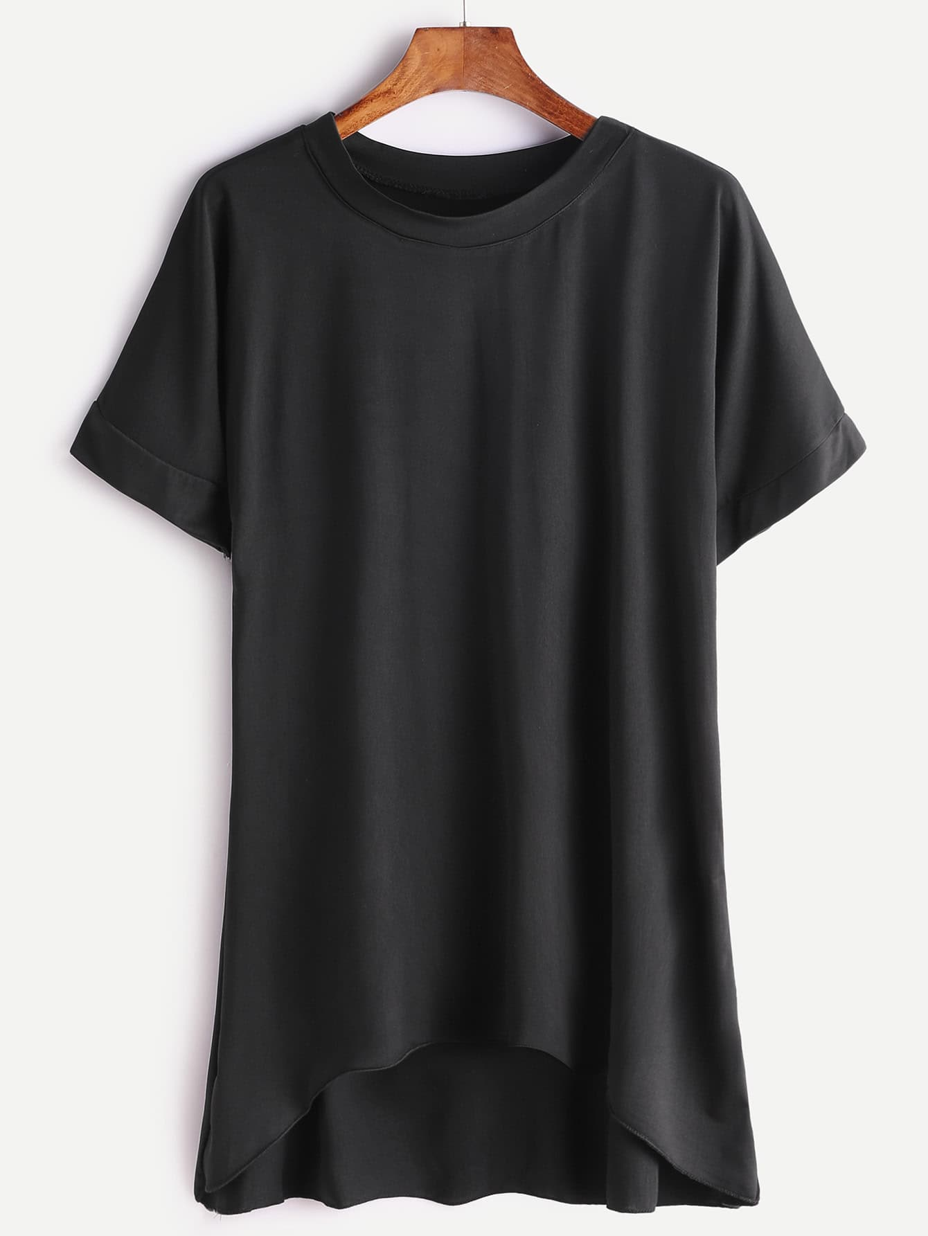 Black Short Sleeve Dip Hem T Shirt