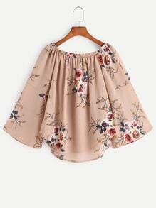 Apricot Florals Boat Neck Bell Sleeve Top