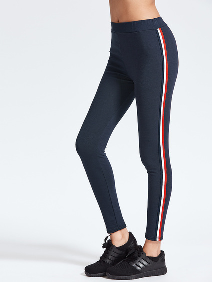 Navy Striped Side Ankle Leggings
