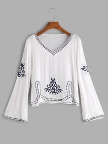 White V Neck Embroidered Blouse
