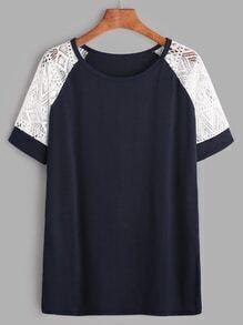 Camiseta de manga raglán con encaje en contraste - marino