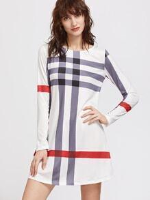 Vestido de manga larga con rayas blancas