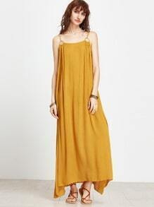 Yellow Spaghetti Strap Maxi Dress With Ring Detail