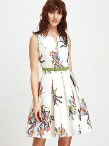 Blanco Floral Sin Mangas Abierto Atrás Una Línea Vestido