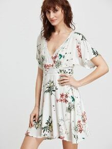 White Flower Print V Neck Dress With Zipper Back