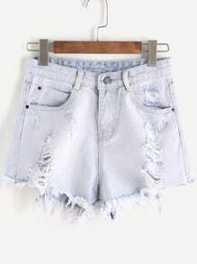 Bleu pâle déchiré Raw Den Denim Shorts