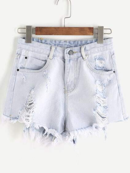 Pale Blue Ripped Raw Hem Denim Pantalones cortos