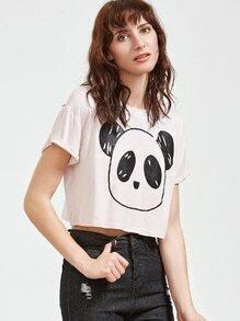 Camiseta corta con estampado de panda - blanco