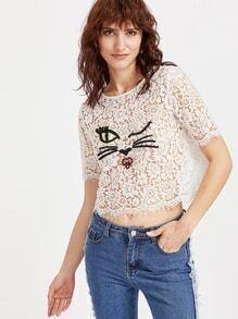 Top con bordado de gato con encaje floral - blanco