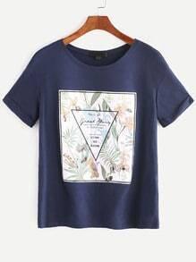 Camiseta con estampado - marino