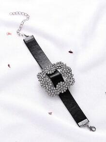 Black Faux Leather Rhinestone Buckle Bracelet