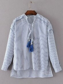 Blue Striped Tasseled Tie Neck High Low Blouse