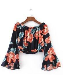 Navy Flower Print Bell Sleeve Off The Shoulder Top