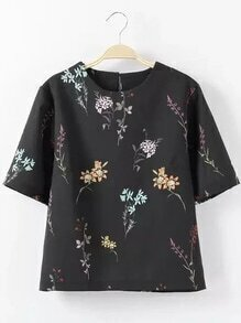Black Flower Print Short Sleeve Top