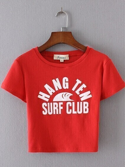 Red Letter Print Crop Ribbed T-shirt